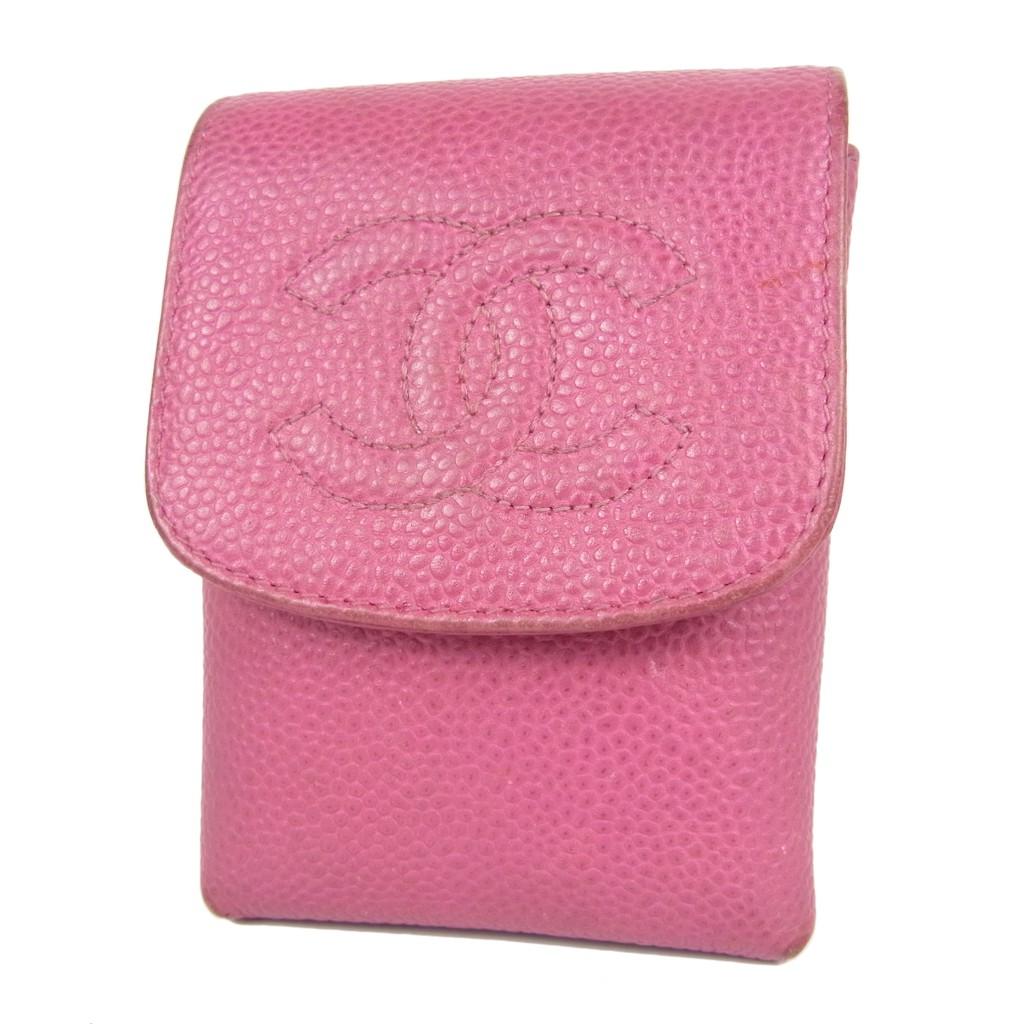 แท้ 100% กระเป๋าใส่บุหรี่ CHANEL CC Logos Caviar Skin Leather Cigarette Holder Multi Case มือสอง 1357