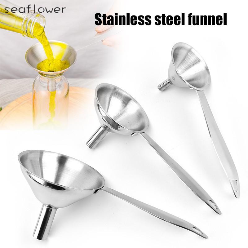 S 3 In 1 Metal Funnels For Filling Bottles Stainless Steel Small Kitchen Funnels Set For Transferring Oils Liquid Shopee Thailand