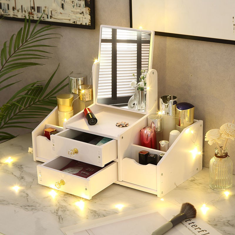 Cosmetic storage box drawer type jewelry skin care products facial mask lipstick with mirror desktop organize large storage boxLucky Department Store🌱