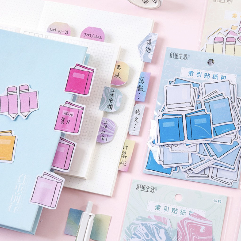 สติ๊กเกอร์+ ที่คั่น Pens & Books 📖 เซ็ต 45 ชิ้น Index Sticker