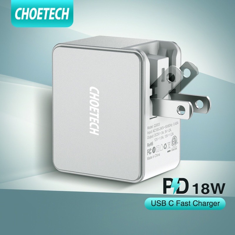 CHOETECH หัวชาร์จUSB C 18W Power Delivery 3.0 & อะแดปเตอร์ชาร์จในรถยนต์