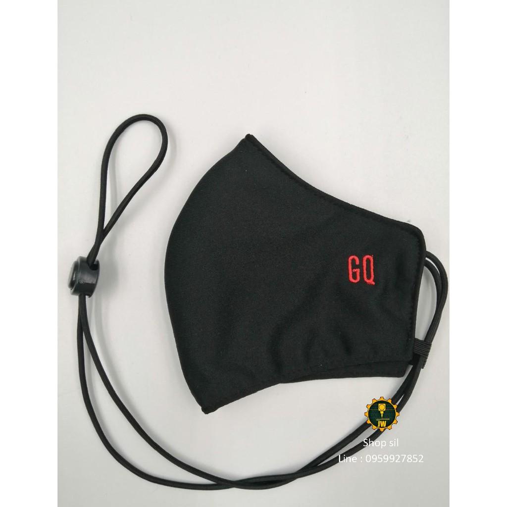 หน้ากากผ้า หน้ากากปิดจมูก ผ้าปิดจมูก GQ สีดำ มีสาย
