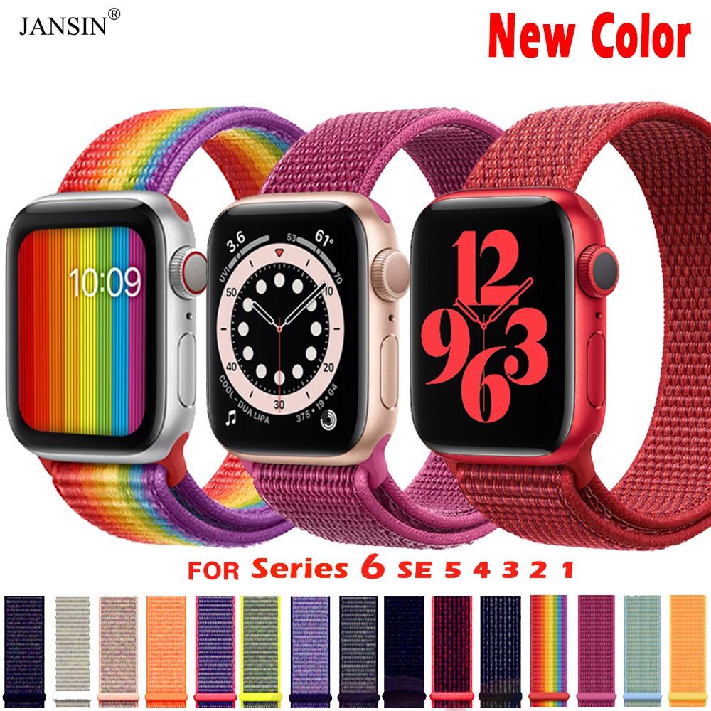 สาย applewatch se 6 สายรัดข้อมือไนล่อนสำหรับ Apple Watch รุ่น 5 / 4 / 3 / 2 / 1 ขนาด 44มม.40มม.42มม.38มม