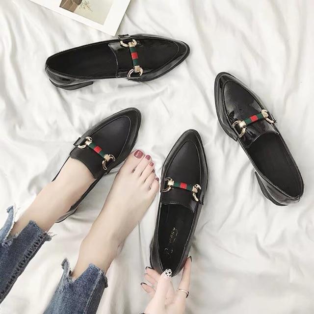 9405 รองเท้าคัชชูผู้หญิง สีดำเงา / สีดำด้าน ส้นหนา 3 ซม.