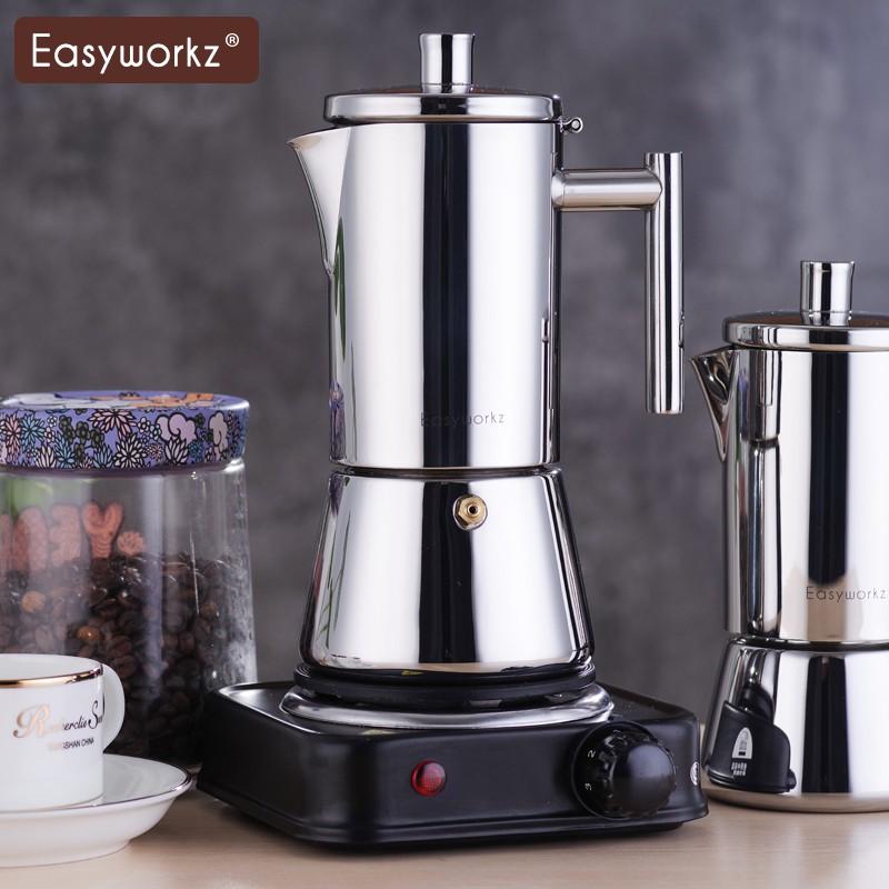 ◘♗☁Easyworkz Moka Pot Italian Home หม้อต้มกาแฟสแตนเลสเตาแม่เหล็กไฟฟ้าเครื่องทำกาแฟเอสเปรสโซ