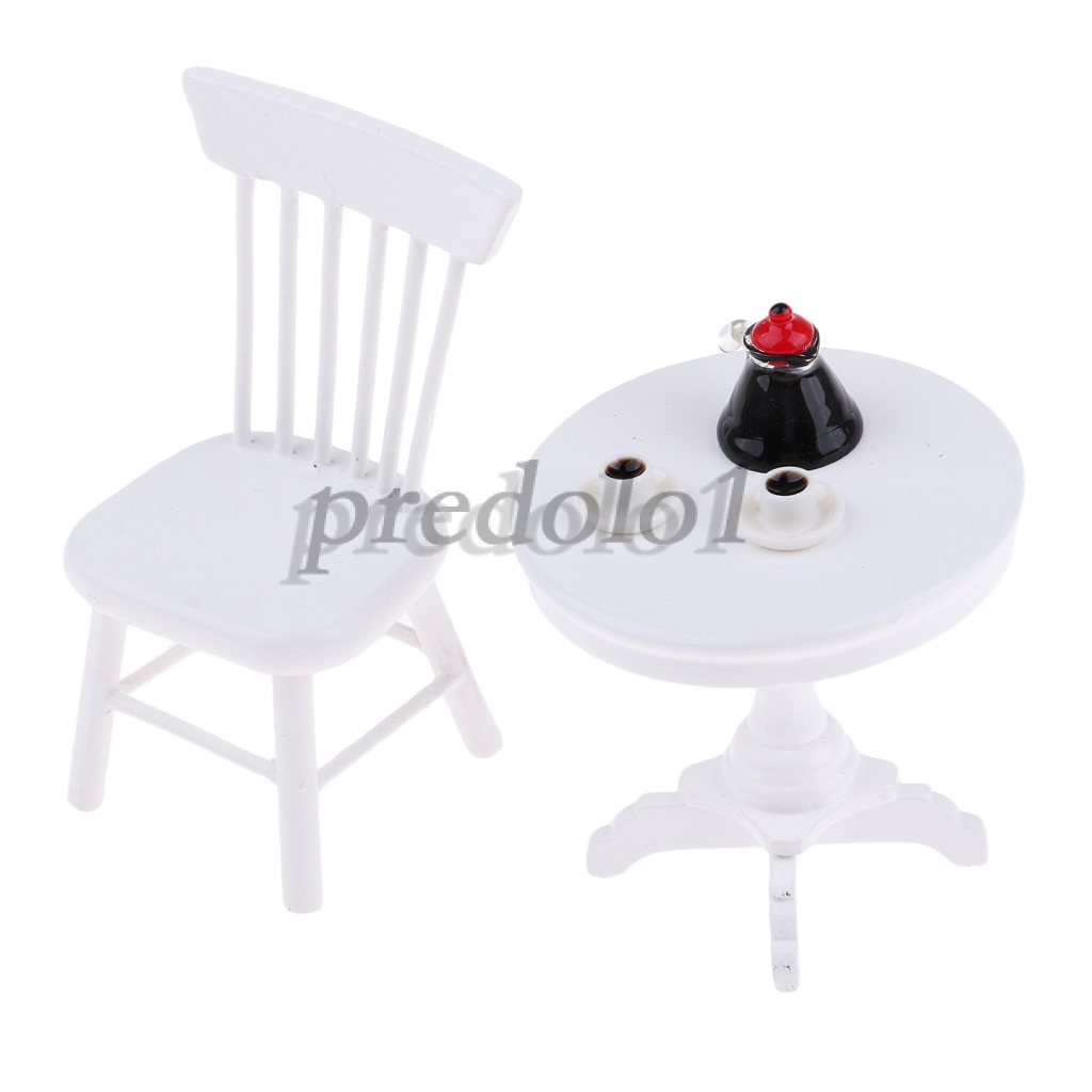 1:12th Dollhouse Miniature Furniture White Octagonal Table Chairs Model Set