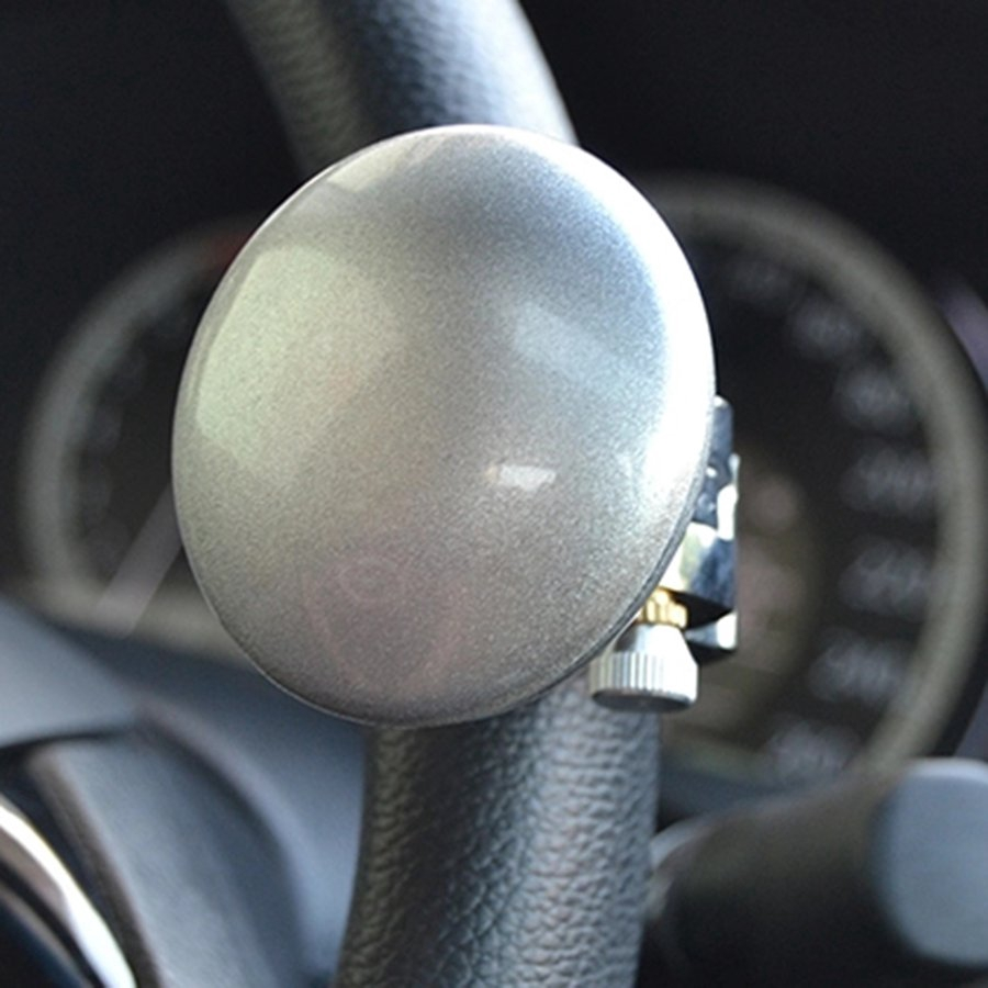 Car Truck Power Steering Wheel Spinner Booster Aid Knob Ball Handle Clamp Mahogany