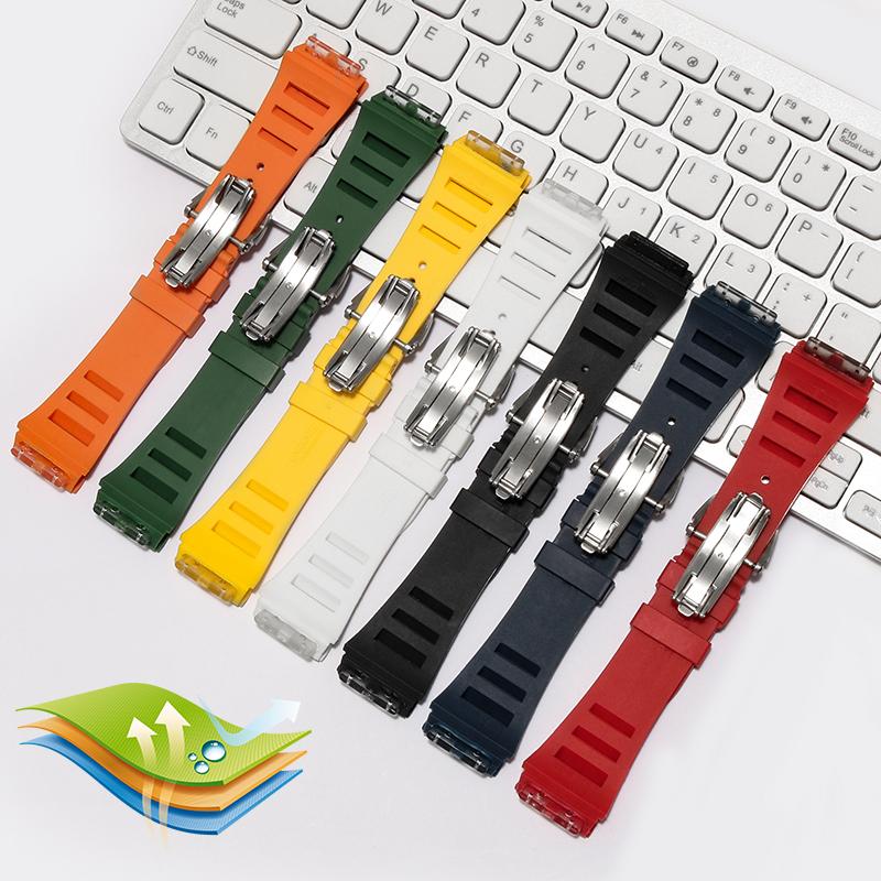 Ρ☺สายนาฬิกา gshockสายนาฬิกา smartwatchสายนาฬิกา applewatchทดแทนRichard Milleสายนาฬิกาซิลิโคนริชาร์ดมิลเลอร์rm011สายยางนู