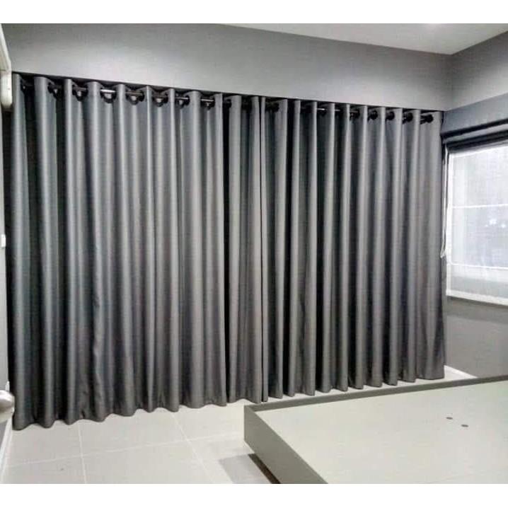 ผ้าม่านสำเร็จรูปกันแสง กันUV แบบตาไก่เจาะห่วง หน้าต่าง ประตู สีเทาเข้ม สีครีม สีน้ำตาล ขนาด 130*150,130*220,130*250,200*