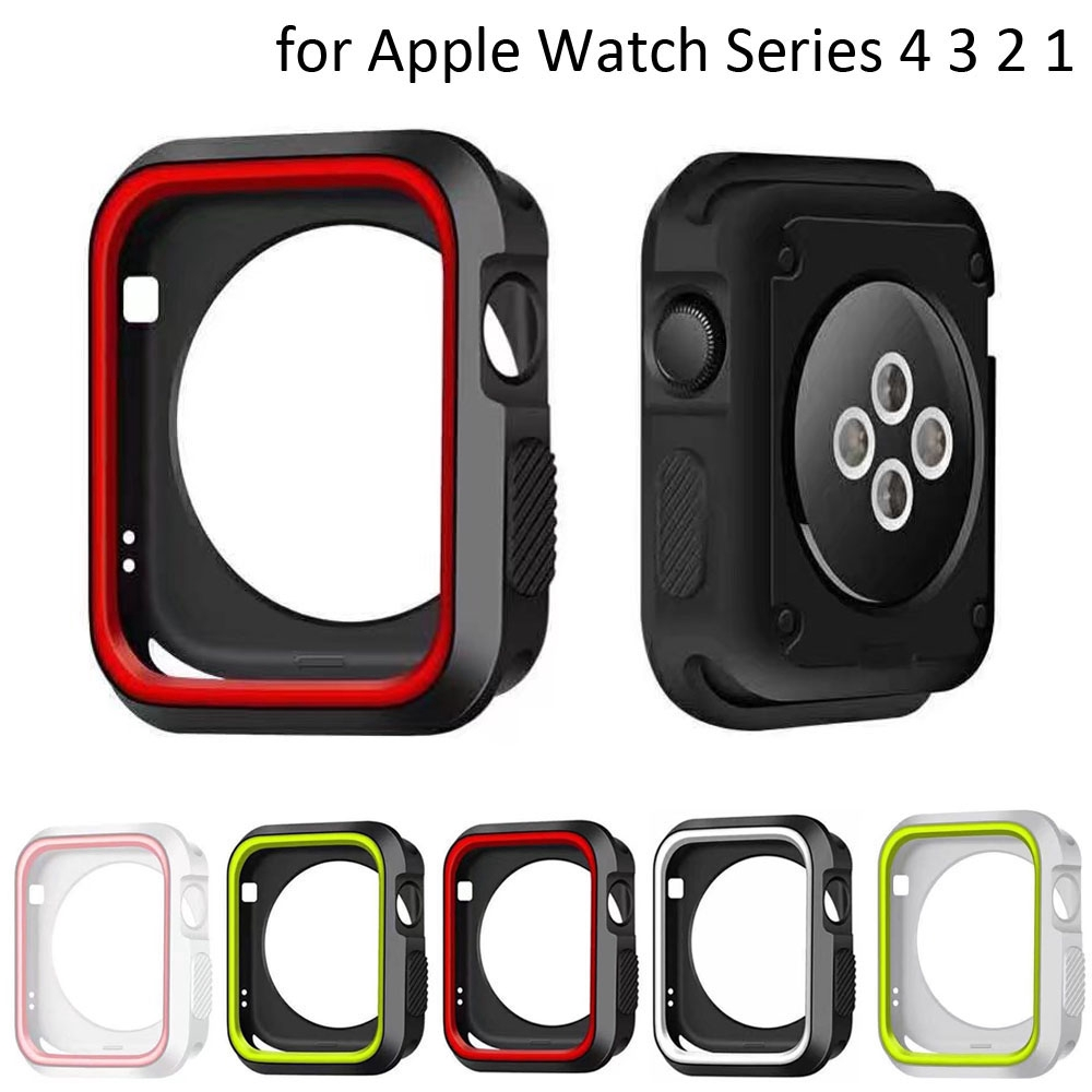 Dual Colors Soft Silicone Case Apple Watch iWatch Series 1 2 3 4 Cover Frame Full Protection Shell 44mm 40mm 42mm 38mm