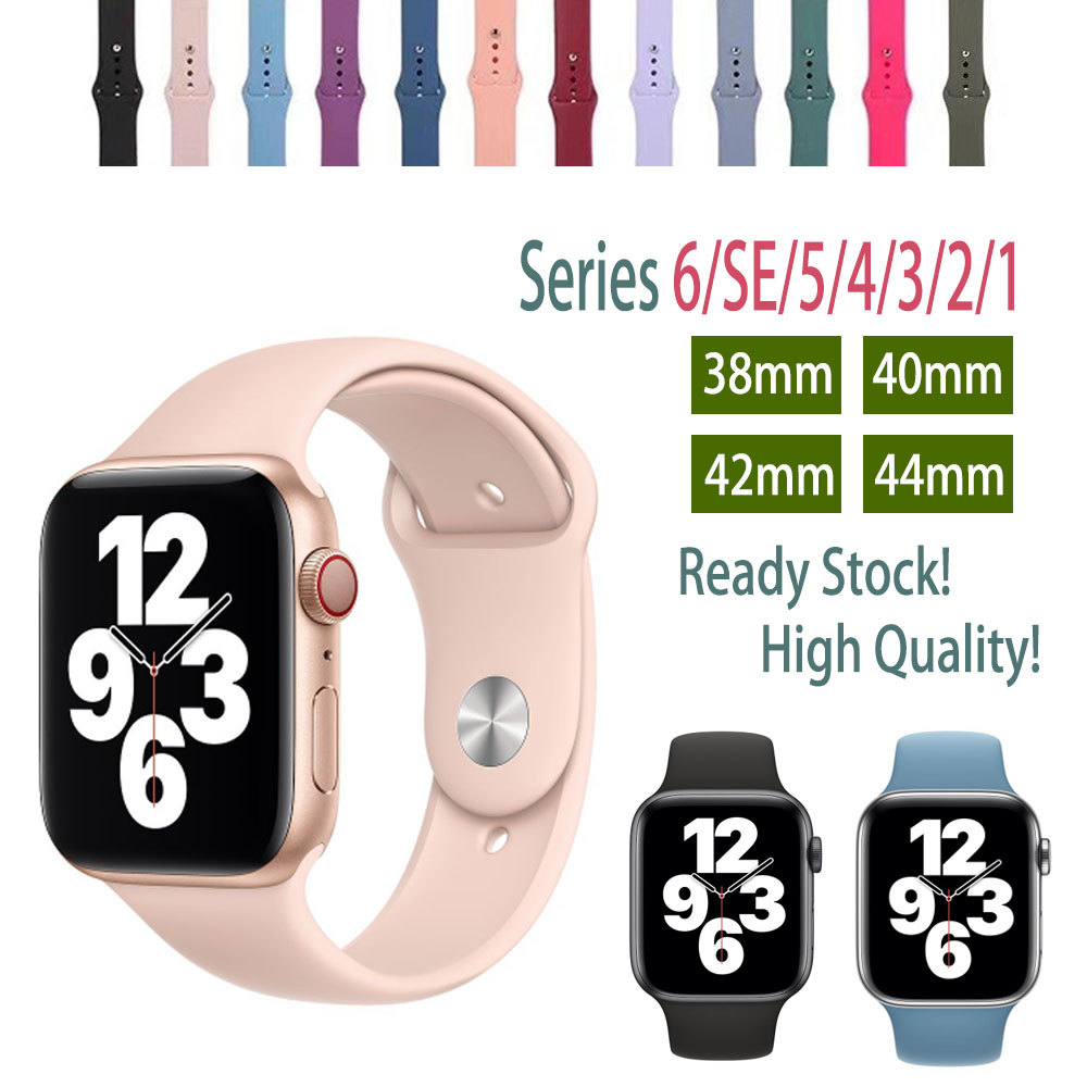 Apple Watch Strap Soft Liquid Silicone 38mm 40mm 42mm 44mm iwatch Band Series 1/2/3/4/5/6/SE