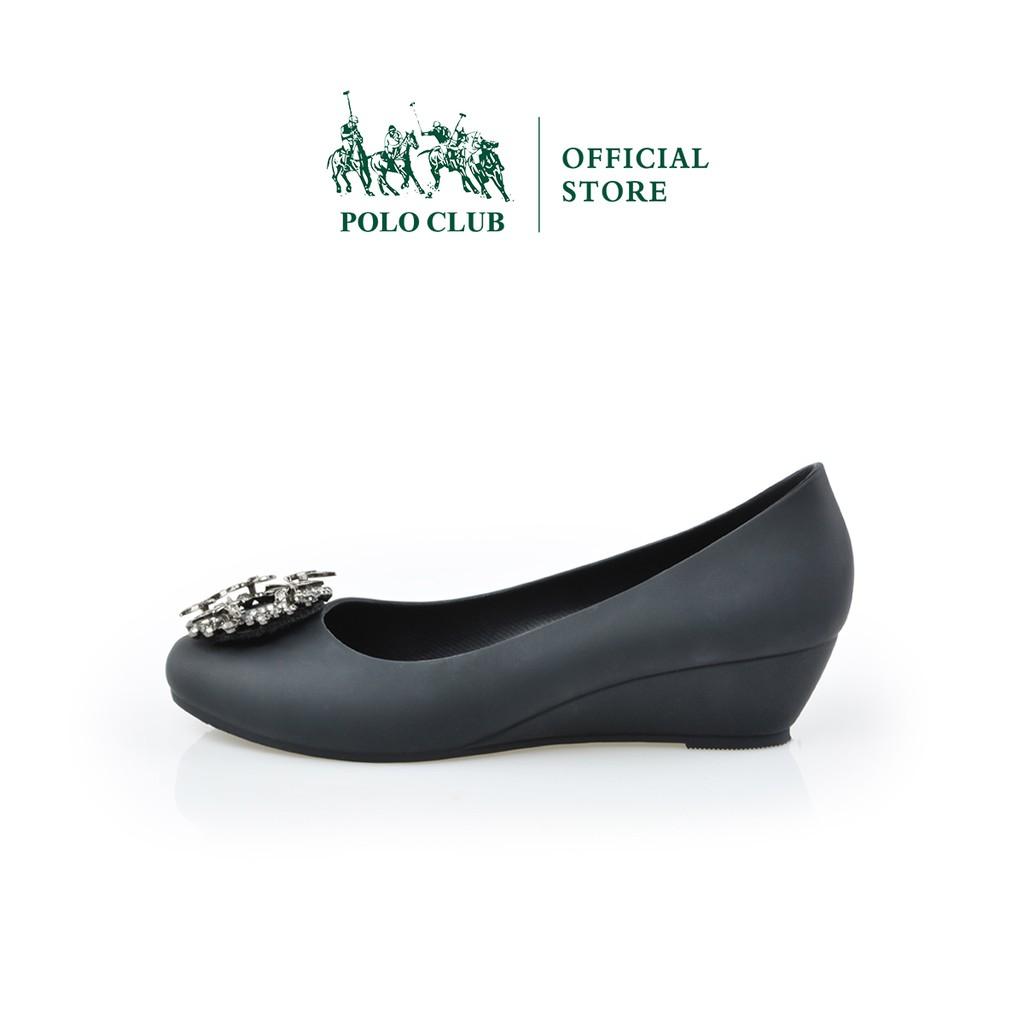 POLO CLUB  รองเท้าคัชชูยาง หัวมน ส้นเตารีด  สีดำ  รุ่น P1802