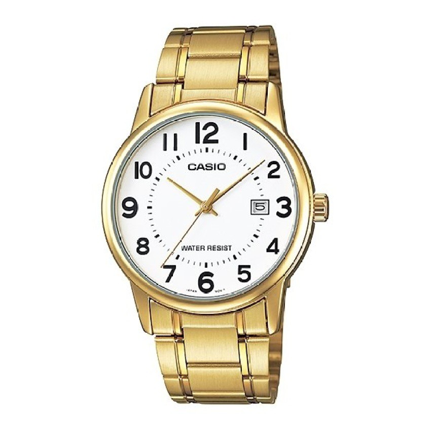 Casio นาฬิกาข้อมือผู้ชาย สายสแตนเลส รุ่น MTP-V002G-7BUDF - สีทอง