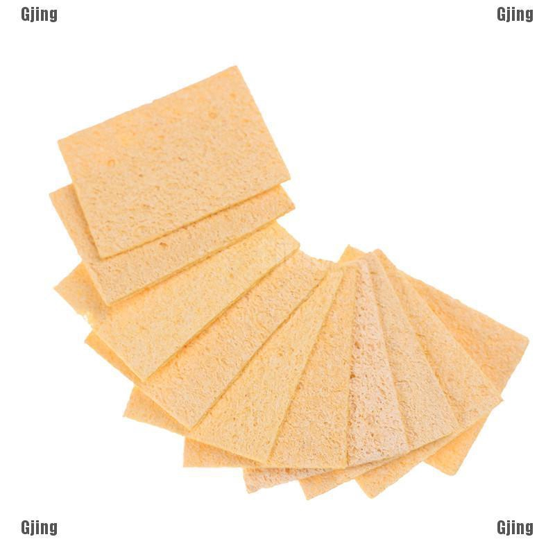 10pcs Soldering Iron Solder Tip Welding Cleaning Sponge Yellow Iron Cleaner