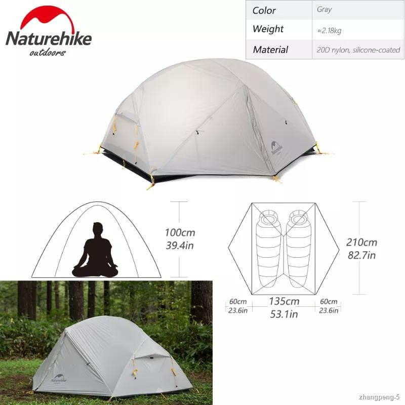 ¤✲✾Naturehike Mongar Camping Tent 2-3 Persons 15D Nylon Upgrade Double Layer Outdoor Blue Tent Ultralight Waterproof Tra