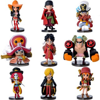 โมเดลวันพีช Hot Sale Q Version 67 Red Dress 9 Models One Piece Theatrical Version Luffy Gift to Friend Hands