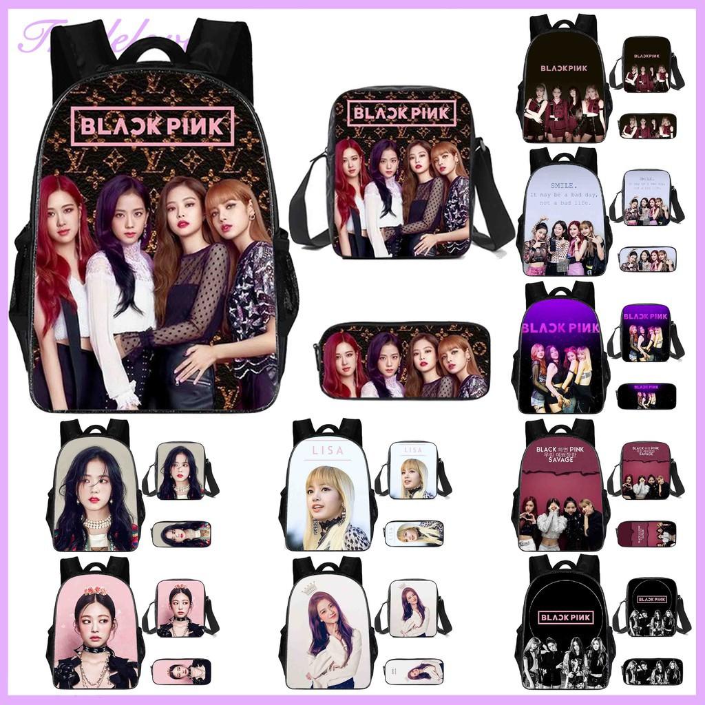 Triple🌈 BLACKPINK กระเป๋าเป้เกาหลี กันน้ำ กระเป๋าเป้เดินทาง กระเป๋าเป้โรงเรียน Lisa Jisoo กระเป๋าสะพายไหล่ กล่องปากกา