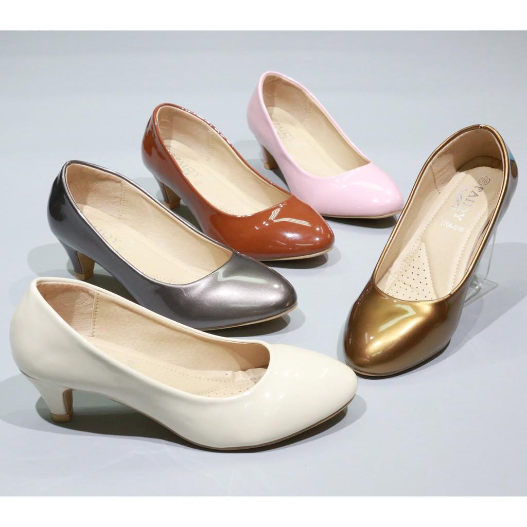 รองเท้าส้นตึก คัชชู รองเท้ายาง รองเท้า 2706-C1B รองเท้าส้นสูง รองเท้าคัชชูส้นสูง แฟชั่น 2 นิ้ว FAIRY