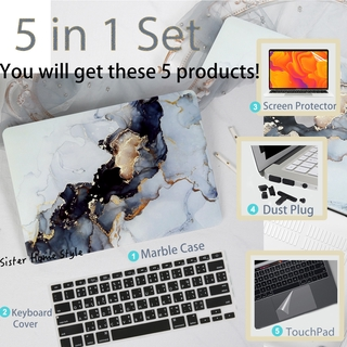 5 in 1 Marble เคส Macbook Case with (Black Thai keyboard cover+Dust Plug+Screen Protector+TouchPad) เคส Macbook Pro Case เคส Macbook air 2020 case Model Number A2289 A2251 A1708 A2159 A1932 A2179