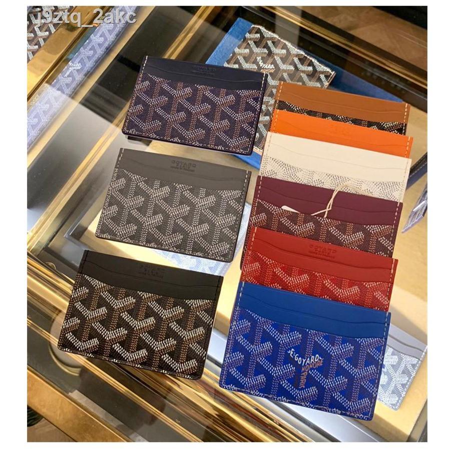 ☸☍☸ซื้อ Goyard / Goya Classic ผู้ชายและผู้หญิง Pattern Card Holder Monolithic Five Position Leather Wallet