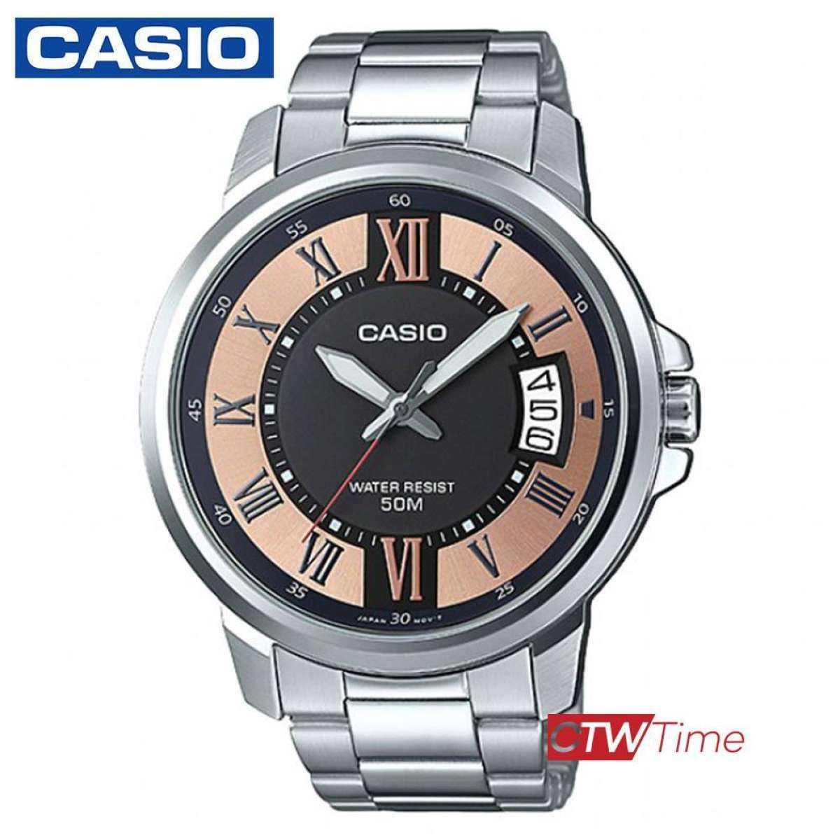 ส่งฟรี !! Casio standard นาฬิกาข้อมือผู้ชาย สายสแตนเลส รุ่น MTP-E130D-1A2VDF (สีพิงค์โกล์) f6Fl