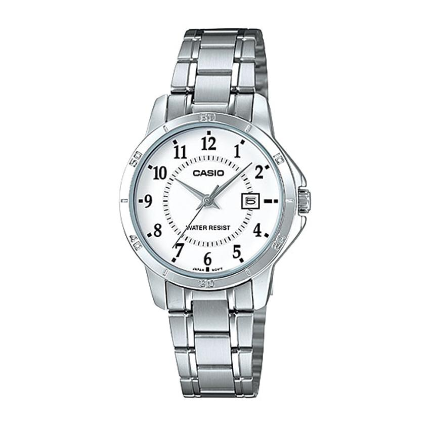 Casio Standard นาฬิกาข้อมือสุภาพสตรี สายสแตนเลส  รุ่น LTP-V004D-7BUDF  - Silver x1U4