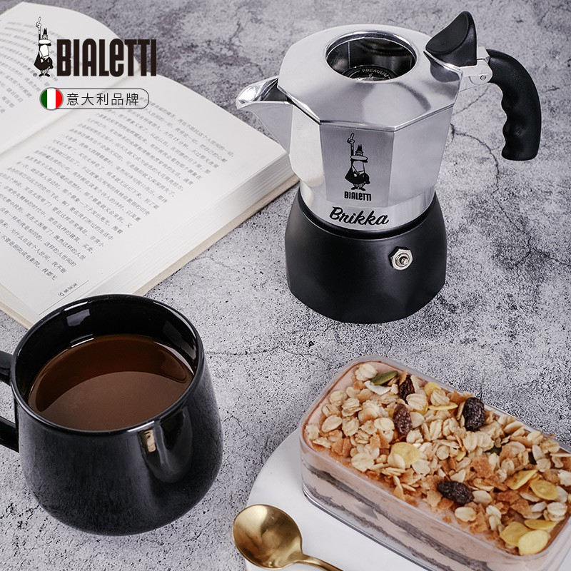 ↙ヰหม้อกาแฟไฟฟ้าเครื่องชงกาแฟมือหม้อกาแฟBialetti brikka bialetti moka pot วาล์วคู่หม้อกาแฟเอสเปรสโซแรงดันสูงในครัวเรือนทำ