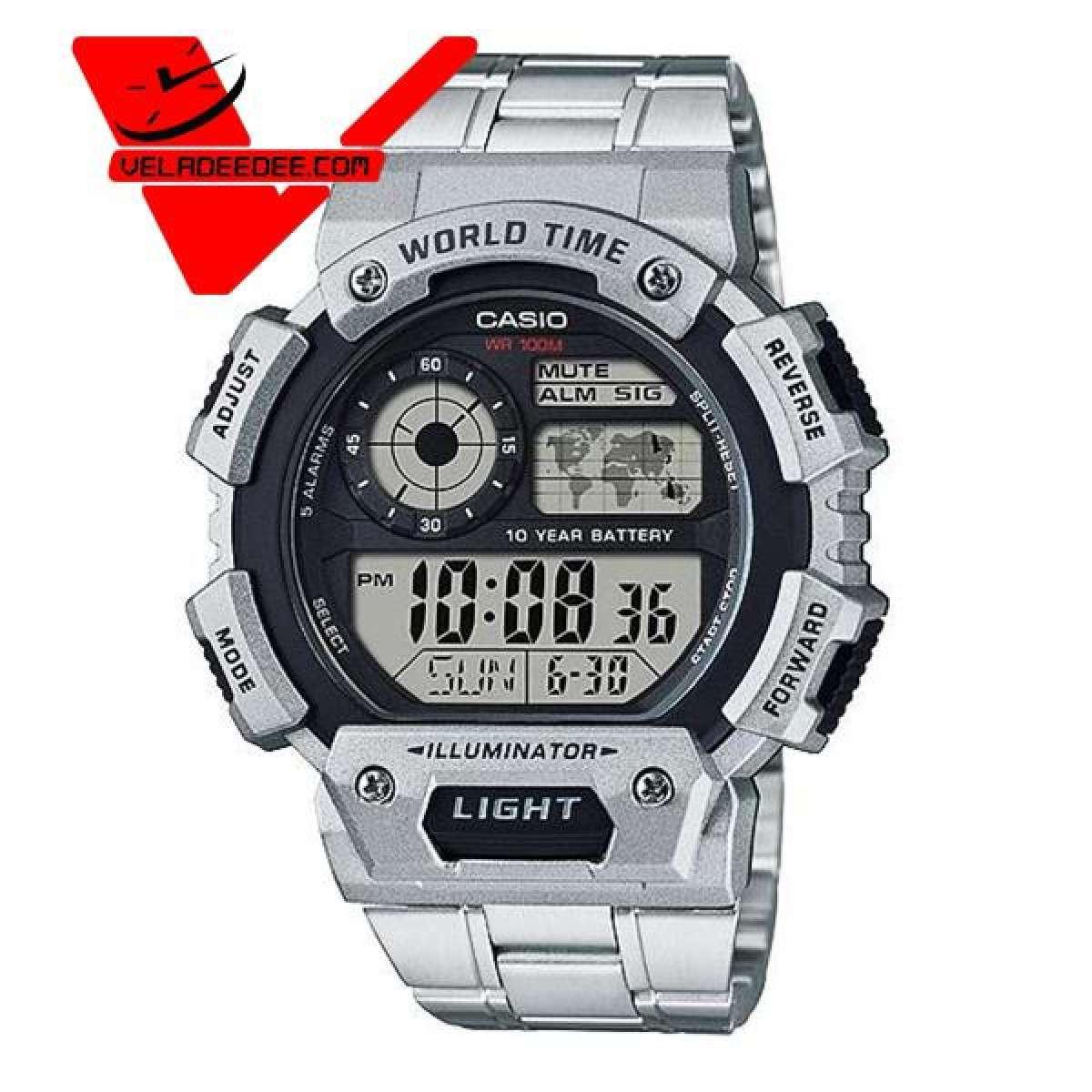 Casio (คาสิโอ ประกันศูนย์เซ็นทรัล1ปี) AE-1400WHD-1A แบตเตอรี่ 10 ปี World Time นาฬิกาข้อมือ สายสแตนเลส  รุ่น AE-1400WHD-