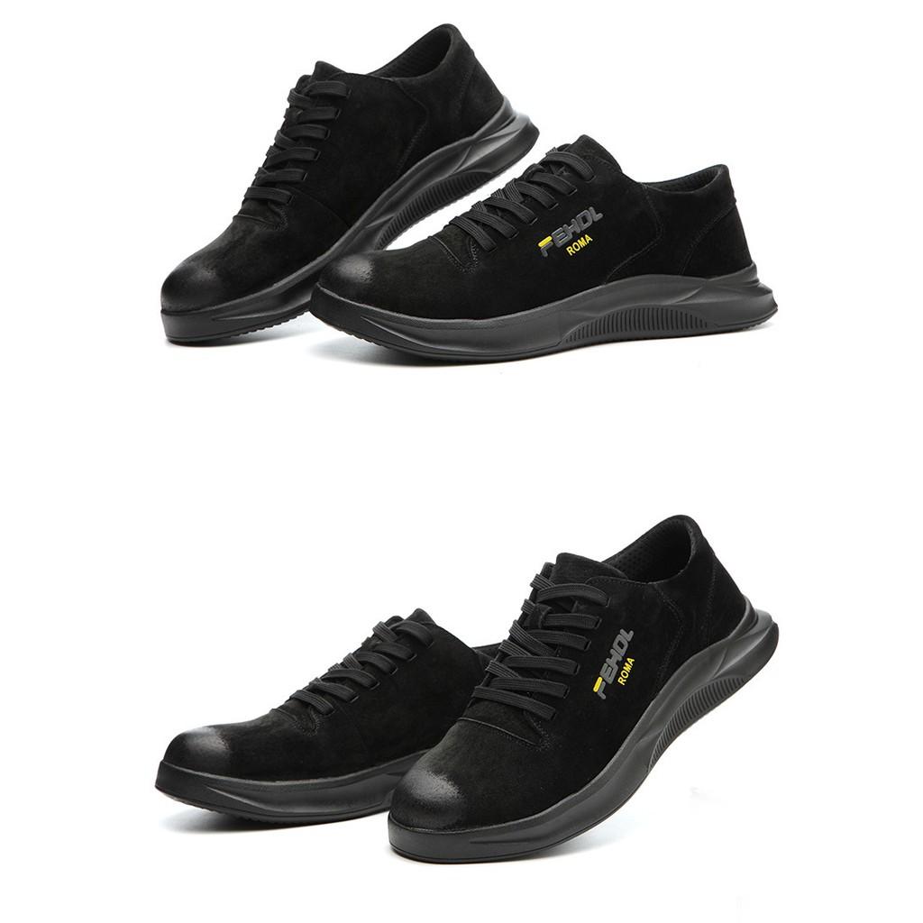 Safety shoes รองเท้าเซฟตี้ หนังแท้ รองเท้าหัวเหล็ก รองเท้านิรภัย รองเท้าเซฟตี้sport ดีไซส์สวย พื้นกันลื่น NO.8/BL