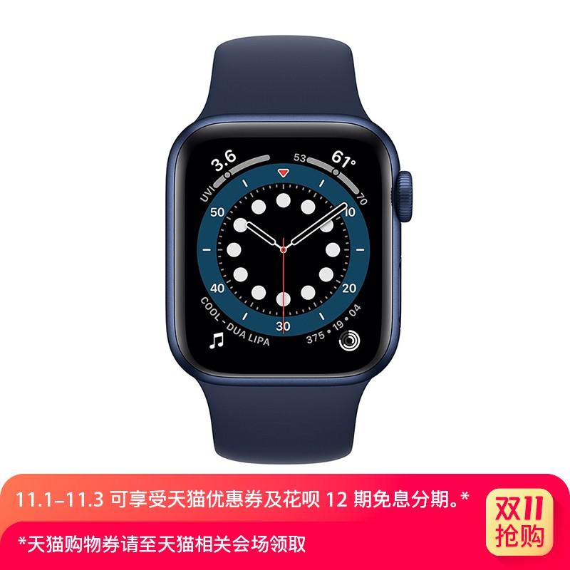 0✸✴☁Apple / Watch Series 6 ตัวเรือนโลหะอะลูมิเนียมสีน้ำเงินสายกีฬาสีน้ำเงินเข้ม