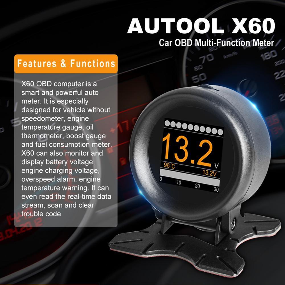AUTOOL X60 Car OBD2 Digital Multi-function Pressure Meter Alarm Speed Water Temp