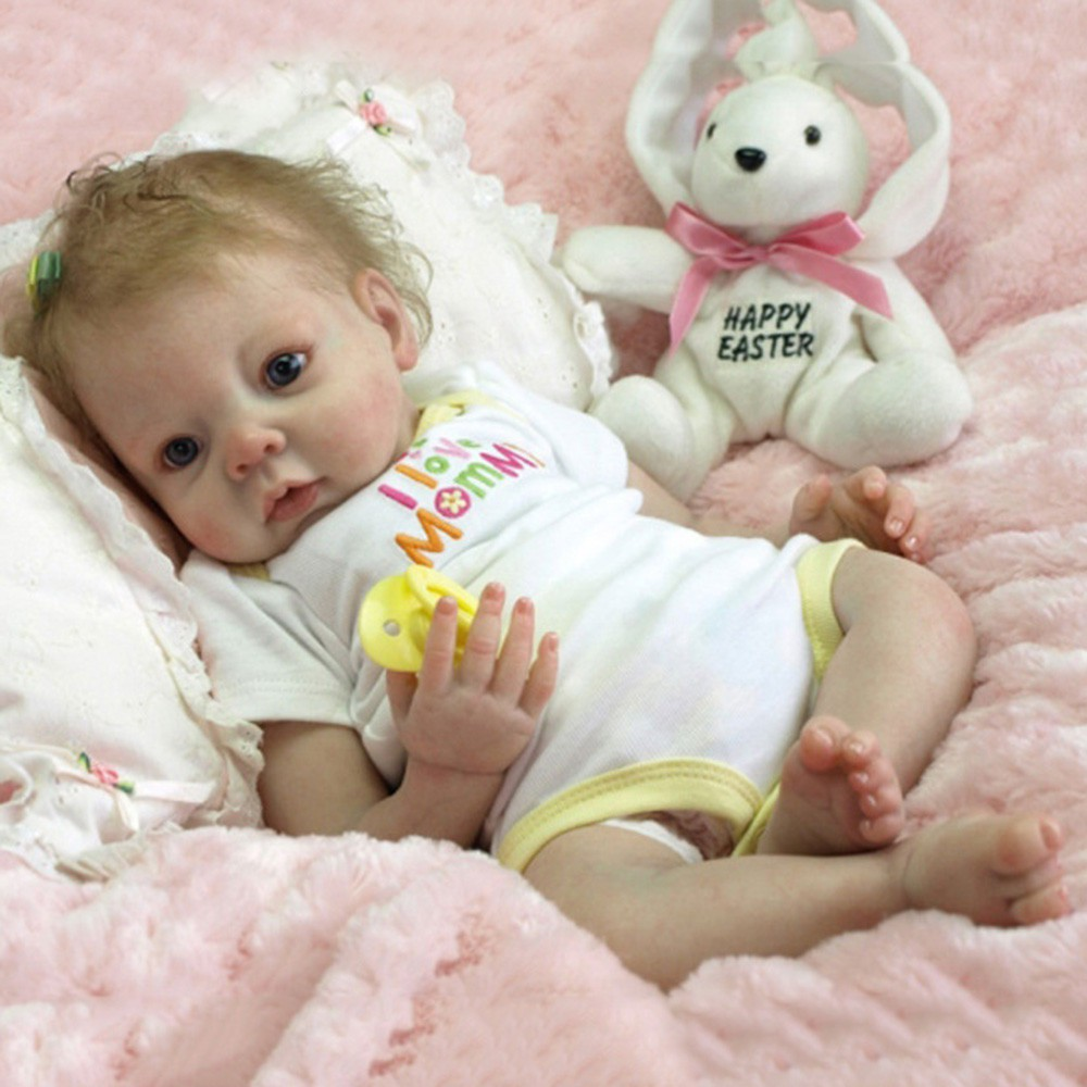 "22/""Lifelike Soft Body Vinyl Silicone Reborn Baby Doll Newborn Baby Girl Dolls"