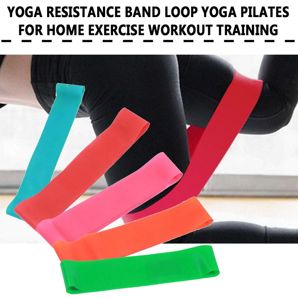 สายยางยืดออกกําลังกาย Yoga Resistance Band Loop Yoga Pilates For Home Exercise Workout Training