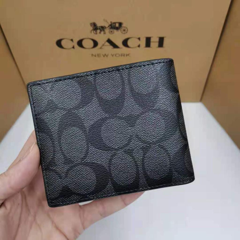 【24 ชม. จัดส่งทันที】COACH F74993 กระเป๋าสตางค์แท้ 100%กระเป๋าสตางค์ผู้ชายใบสั้น กระเป๋าใส่เหรียญ กระเป๋าใส่บัตรกระเป๋าสต