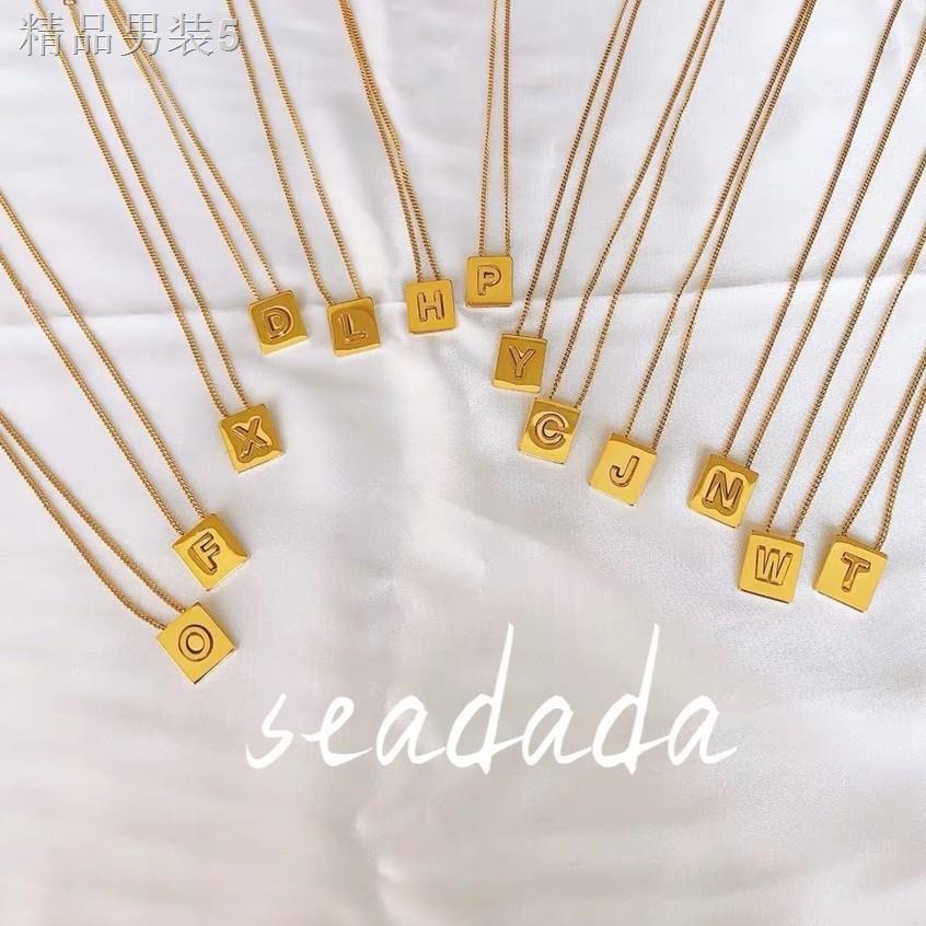 ราคาถูกมาก♛สร้อยคอ เครื่องประดับ!สร้อยคอตัวอักษร ลิซ่า สร้อยคอสวยๆ งานชุบทองคำขาว 26 letter necklace  พร้อมส่ง