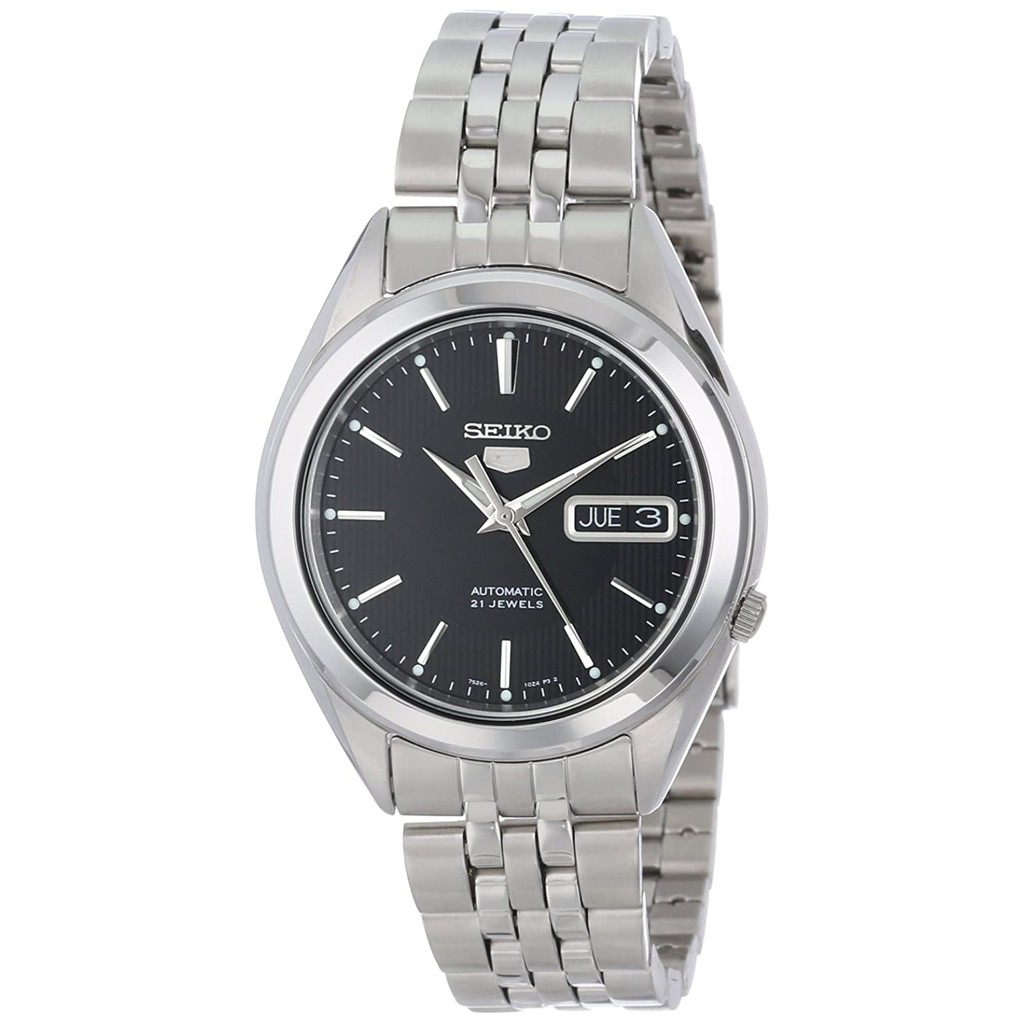 SEIKO 5 SNKL23K1 SNKL23 Automatic 21 Jewels Black Dial Stainless Steel Men Watch