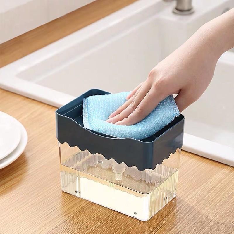 กล่องกดน้ำยาล้างจานพร้อมที่วางฟองน้ำ
