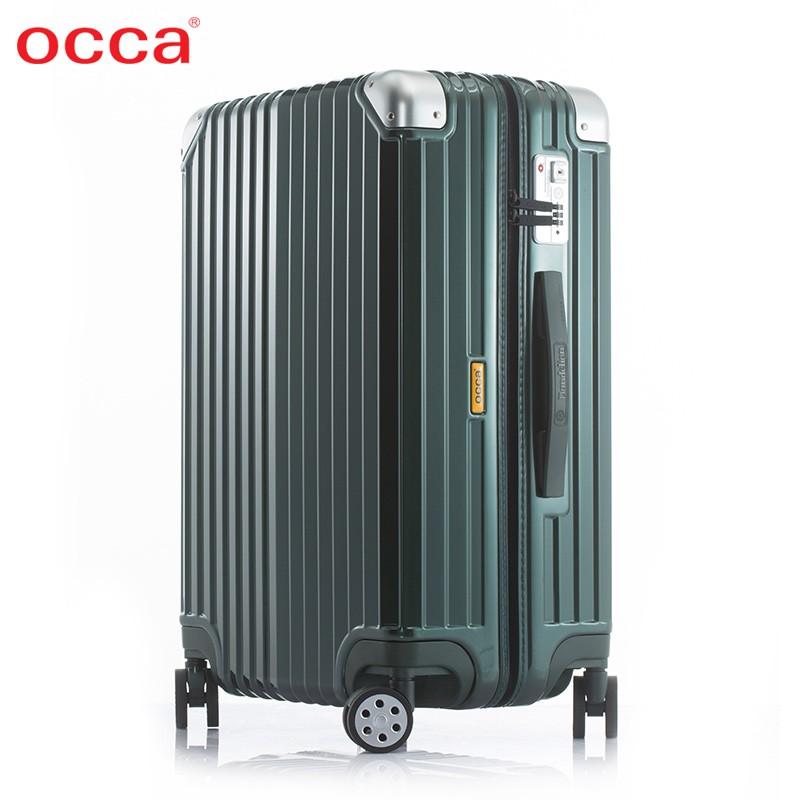 OCCA Design PCบริสุทธิ์น้ำหนักเบาซิปกล่องins20นิ้วล้อสากลหญิงสุทธิสีแดงกระเป๋าเดินทาง24นิ้ว