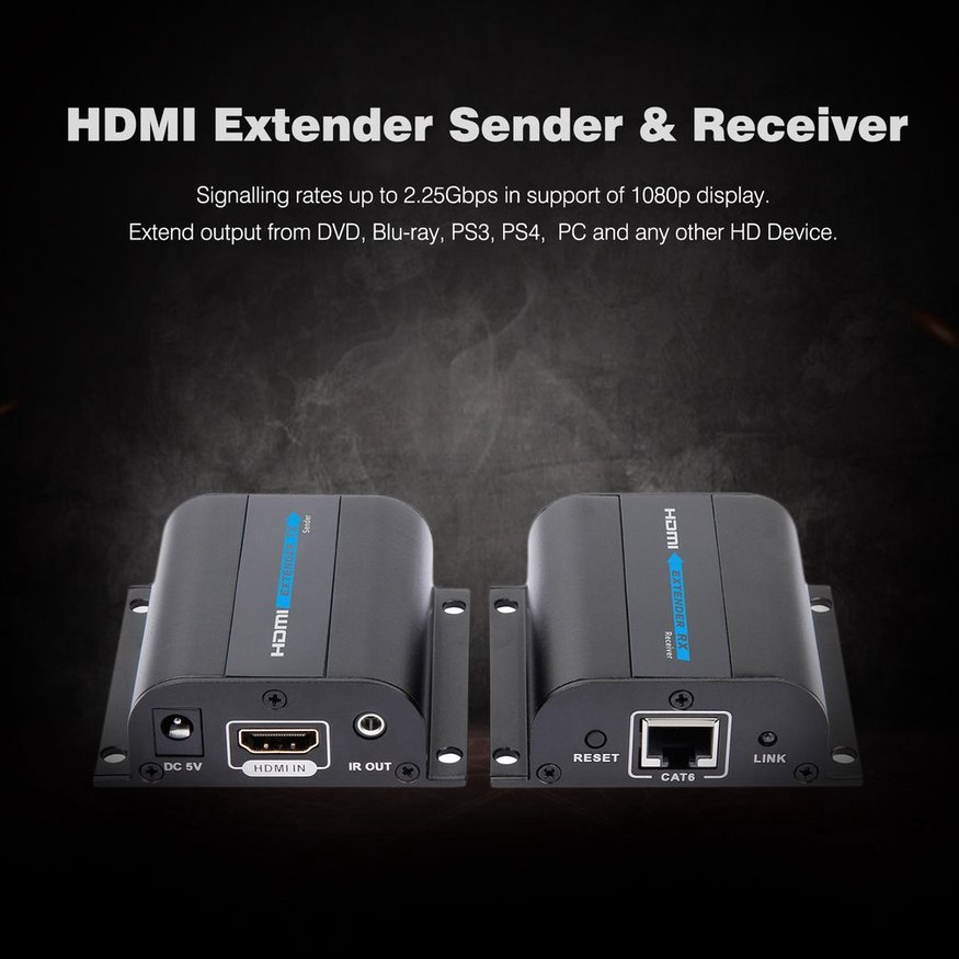 Portable HD 1080P 60M IR HDMI Extender Over Single LAN RJ45 CAT5e CAT6 7  Cable