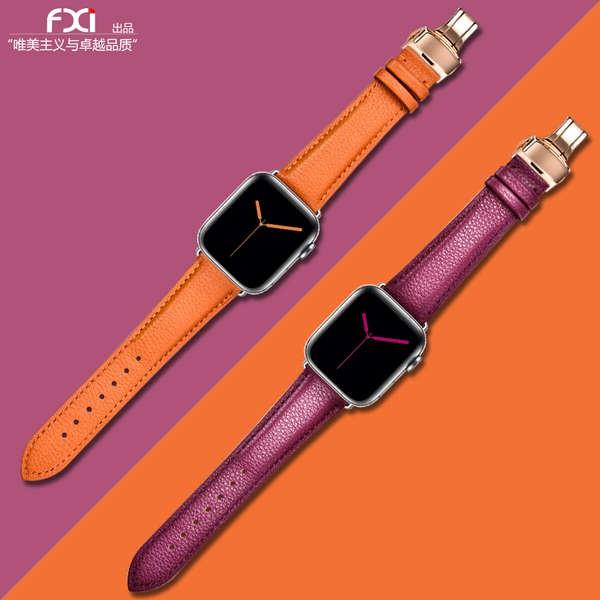 สาย applewatch fxi รูปแบบลิ้นจี่สายรัด apple watch หญิงและชายชั้นแรก cowhide soft apple applewatch สาย iwatch6543 รุ่น i
