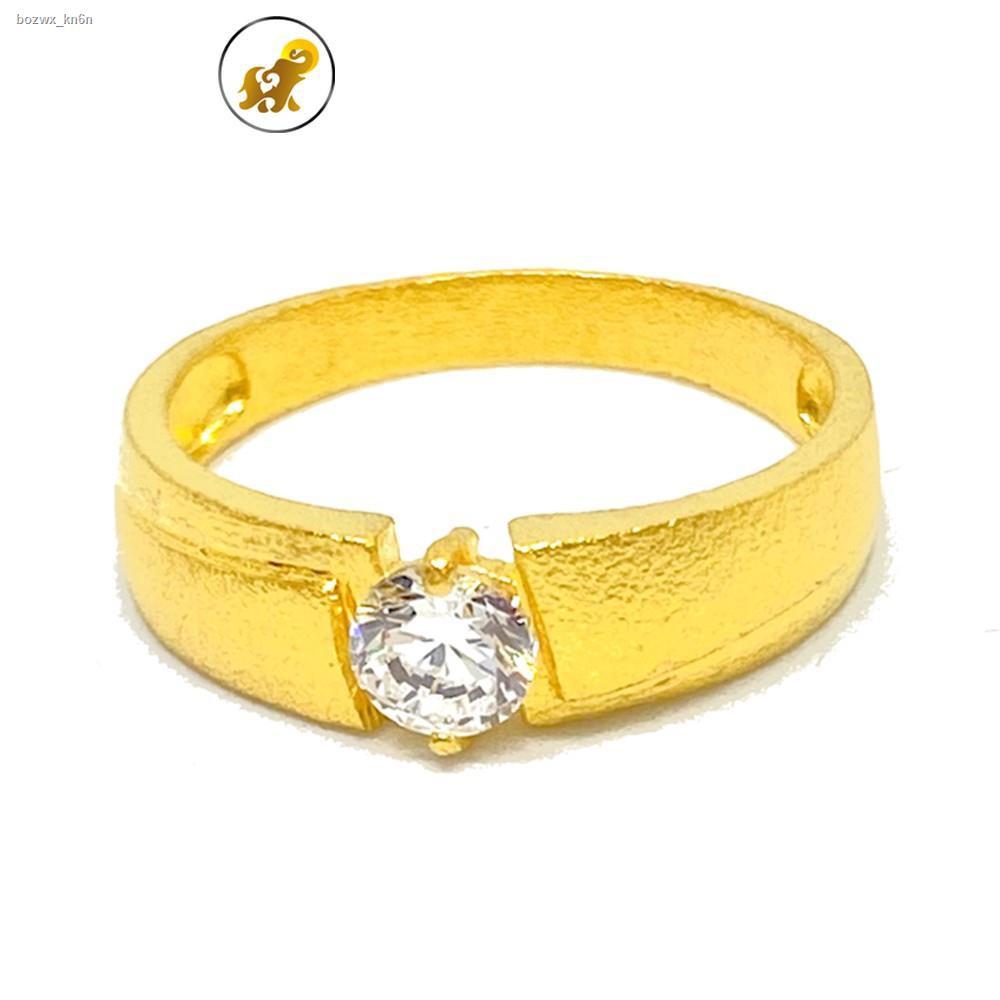 ราคาต่ำสุด◎﹉PGOLD แหวนทอง 1 สลึง เพชรสวิสเม็ดเดี่ยว หนัก 3.8 กรัม ทองคำแท้ 96.5% มีใบรับประกัน