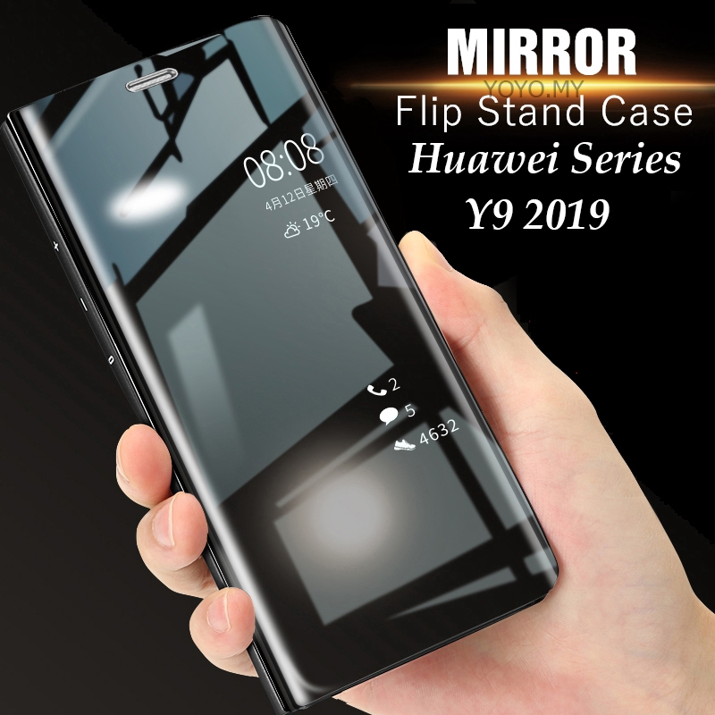 Casing Huawei Y9 2019 2018 Honor 8X Case Huawei Mate 20 Pro Case Mirror  Flip Stand Hard Cover