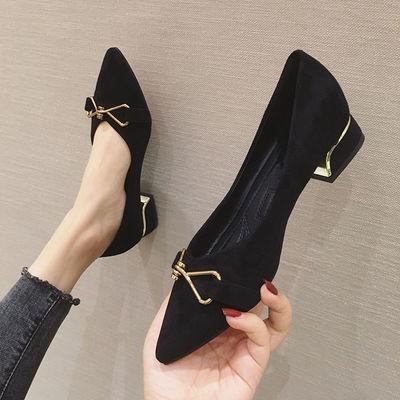 พร้อมส่ง👑 รองเท้าคัชชูหัวแหลมส้นหนา แฟชั่นเกาหลีส้น รองเท้าส้นสูงเซ็กซี่