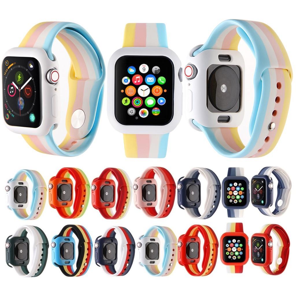 ใหม่ สายรุ้ง สีเดียวกัน Apple Watch เคส + สายนาฬิกา Apple Watch Series 5 4 3 2 1 size 38mm,40mm,42mm,44mm Same Color Silicone สายนาฬิกา Apple Watch and soft silicone เคส  Apple Watch 5