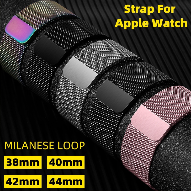 Dimu Milanese สายนาฬิกาข้อมือสแตนเลสสําหรับ Apple Watch Band Series 5 / 4 / 3 / 2 / 1 38 มม . 42 มม .