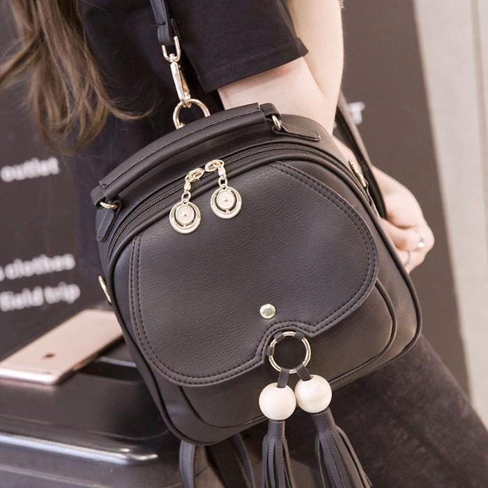 ✜2021 รุ่นใหม่ของเกาหลีกระเป๋าเป้สะพายหลังขนาดเล็กหญิงกระเป๋าเป้สะพายหลังขนาดเล็กพู่ขนาดเล็กสาม เดินทางกระเป๋าใบเล็กกับ