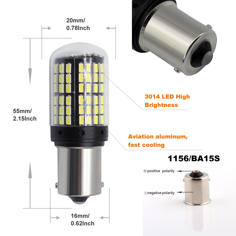 No Hi-Flash CANBUS Signal Bulb 3014 144SMD LED 7440 1156 BA15S Car Turn Light