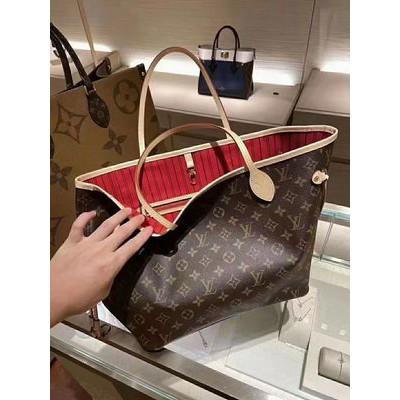 ✽‰กระเป๋าสะพายกระเป๋าถือเป้กระเป๋าเดินทางกระเป๋าผู้หญิง Lv/Louis Vuitton ของแท้ neverfull ถุงช้อปปิ้งแม่และเด็กขนาดกลางก