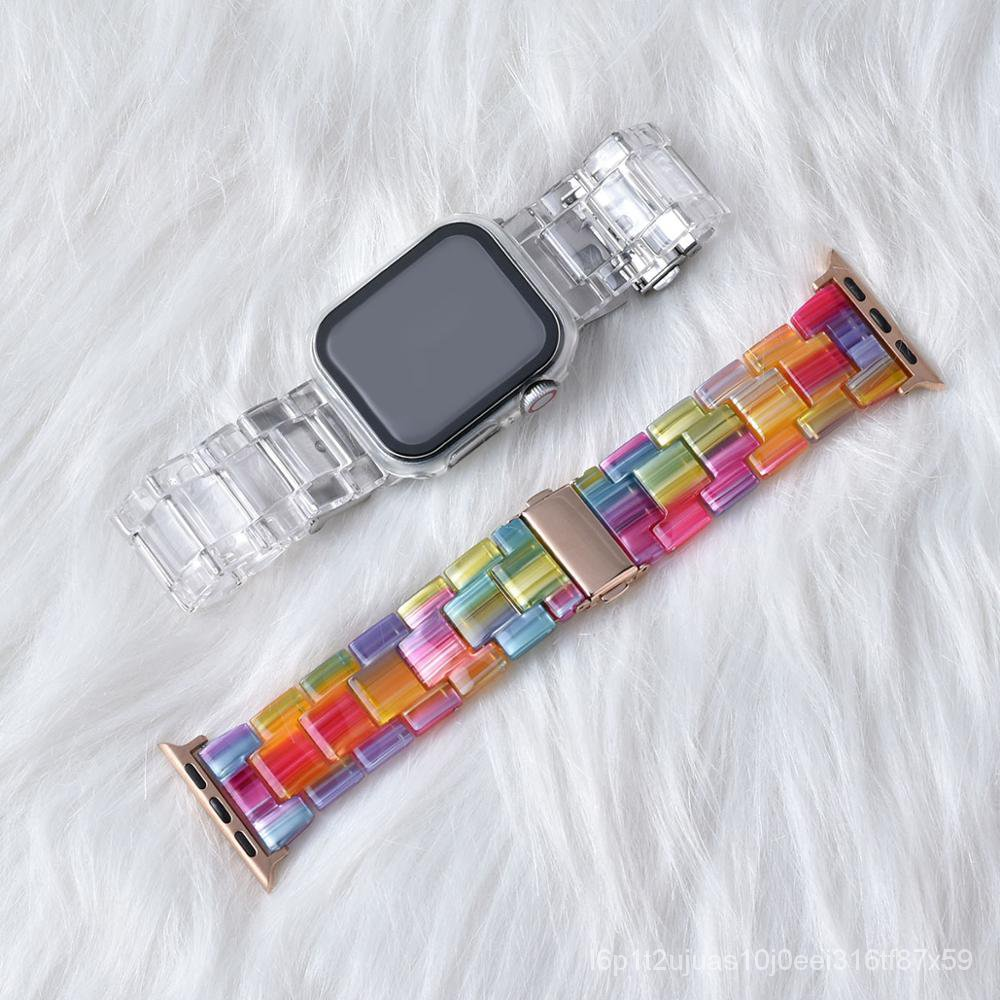 Newest RESIN Clear Band for Apple Watch Series 5 4 3 2 1 Transparent for iwatch Strap 38mm 40mm 42mm 44mm Plastic Strap