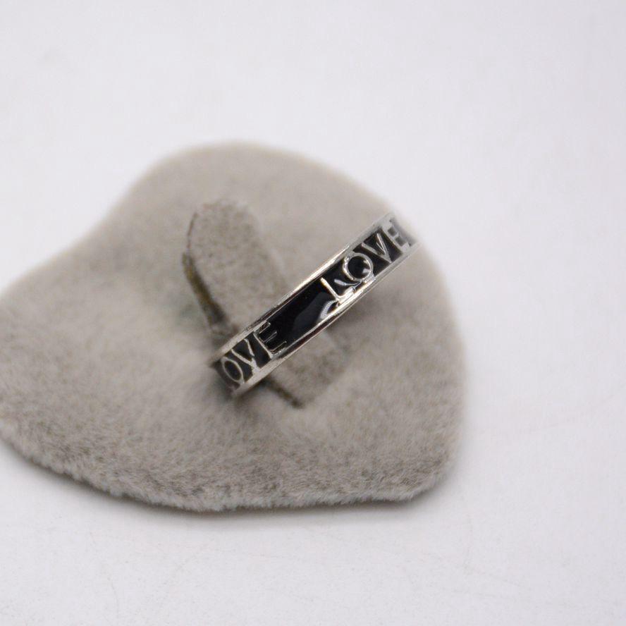 แหวนแว่นกันแดดเครื่องประดับ☬เวอร์ชั่นเกาหลีของ Simple Black Drip glaze LOVE แหวนทองคำขาวบุคลิกภาพอารมณ์ hipster แหวนผู้ห